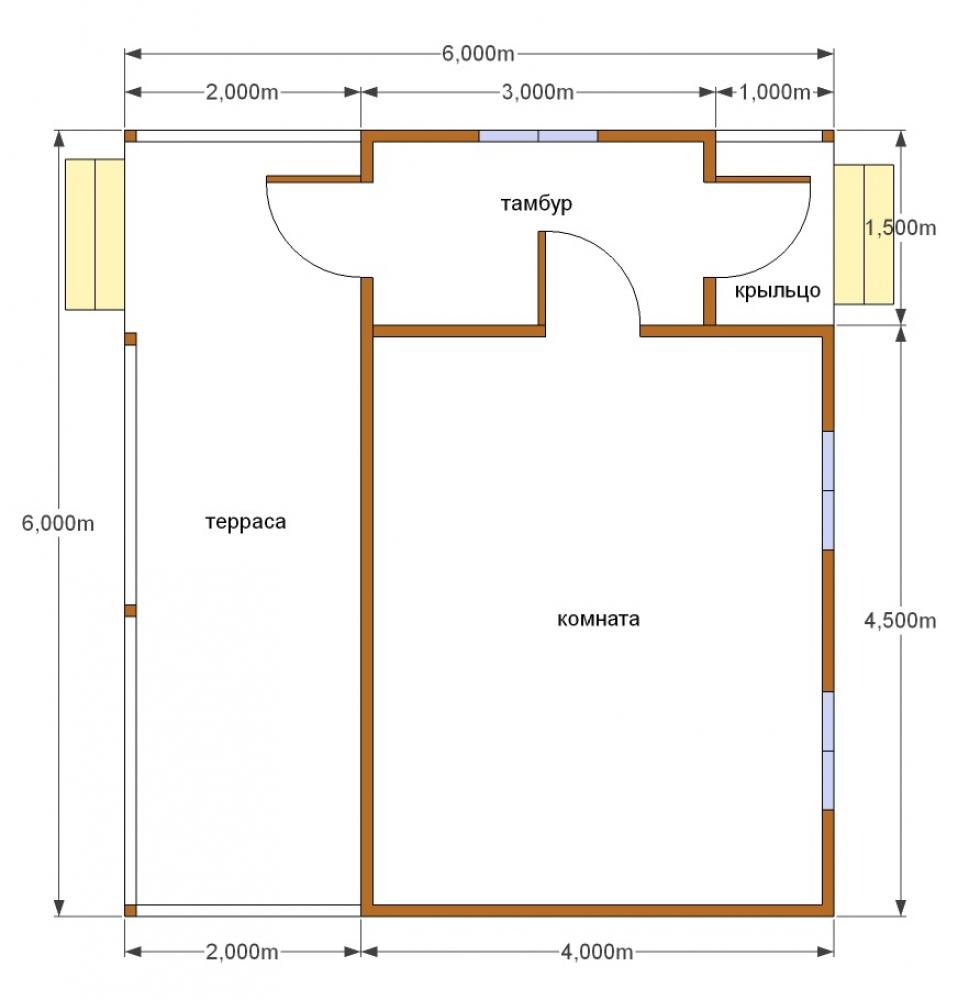 Одноэтажный дом 6на6