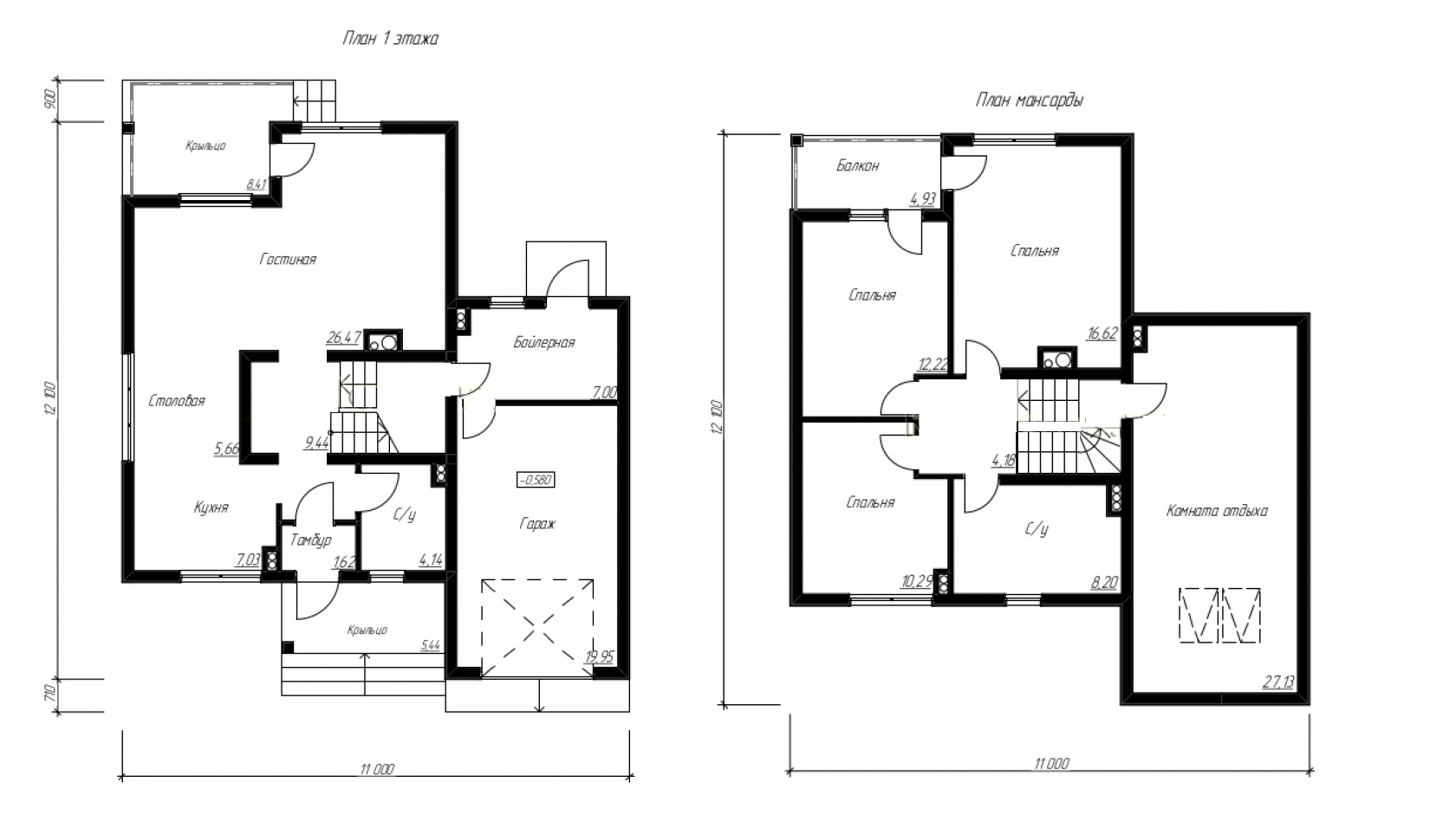 План дома 11 на 12
