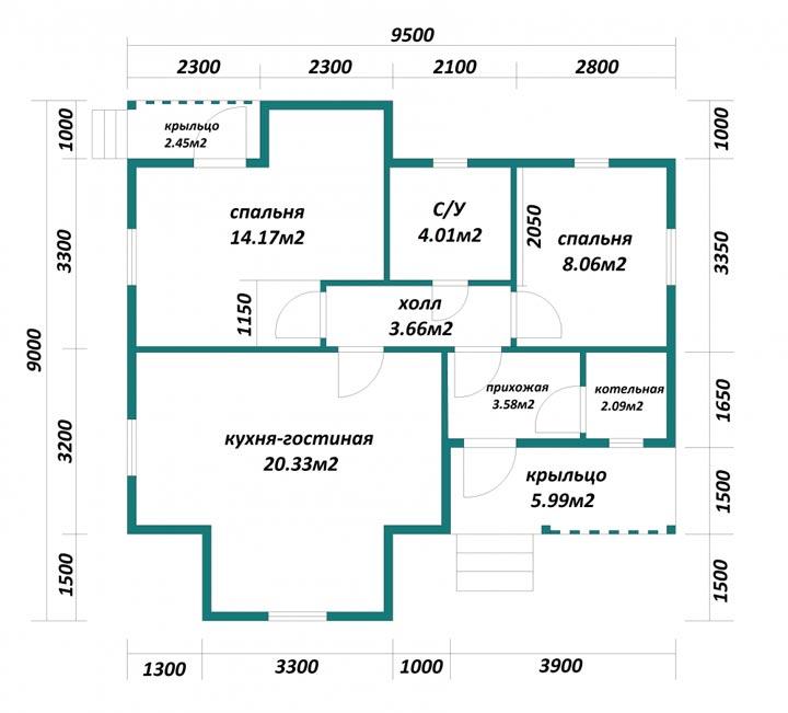 Одноэтажный дом 9 9