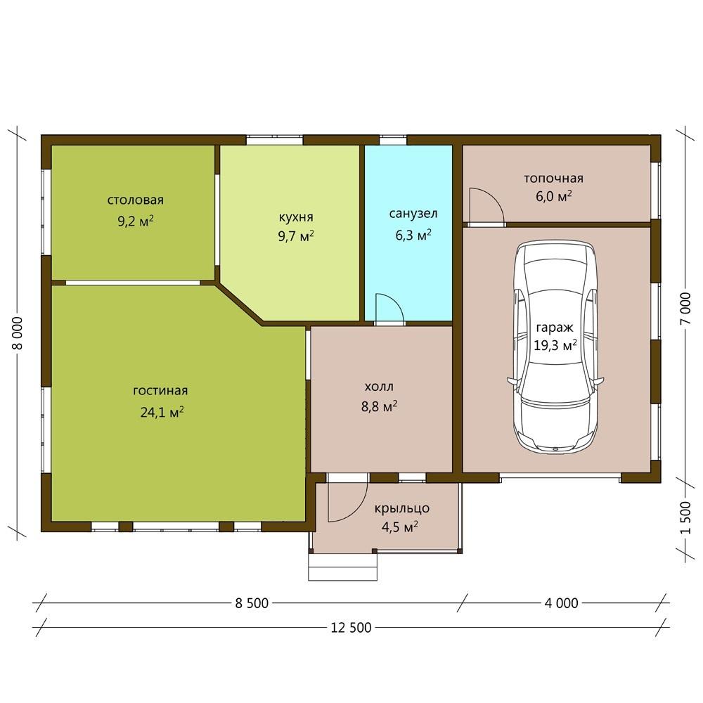 Дом 8 на 8 с гаражом
