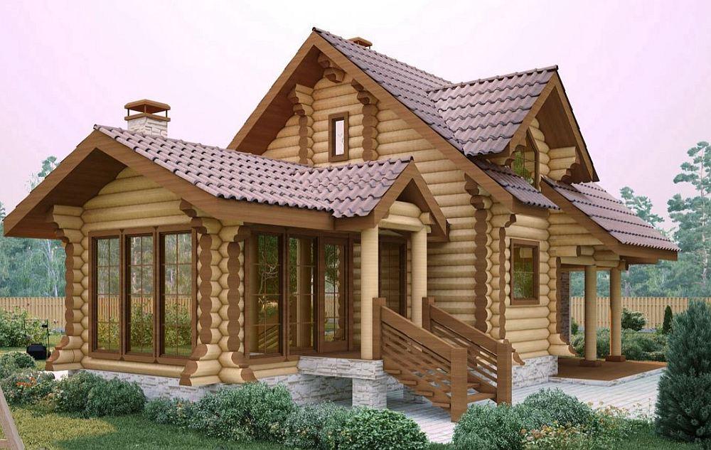 Дом из каркаса и бревен