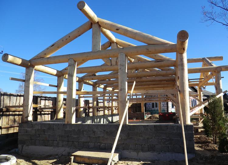 Строительство каркасно-бревенчатого дома