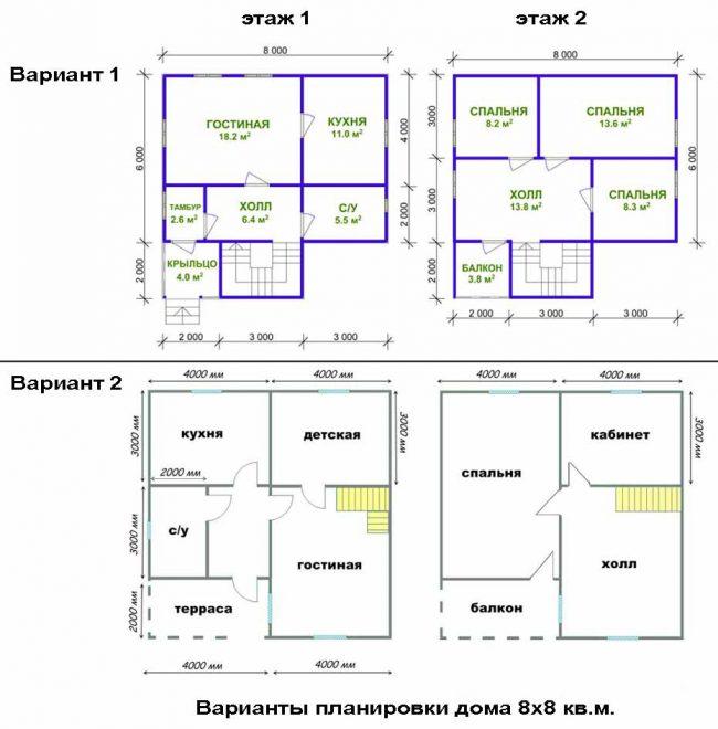 План двухэтажного дома с террасой