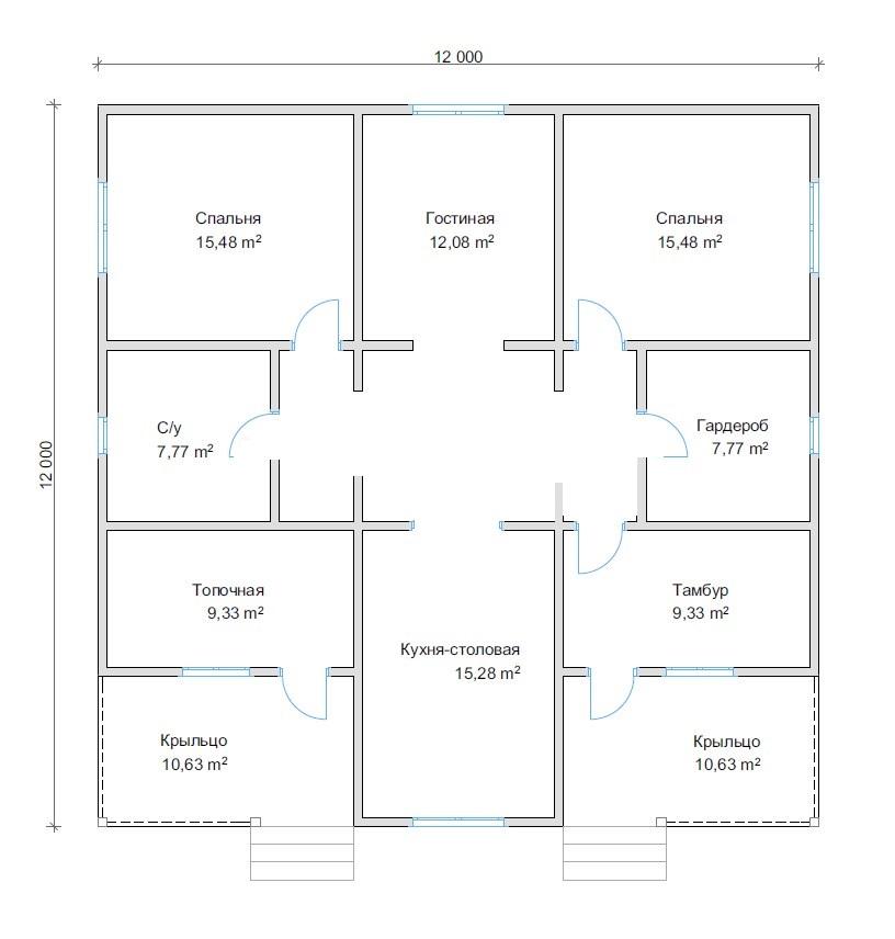 Дом в один этаж размером 12 на 12
