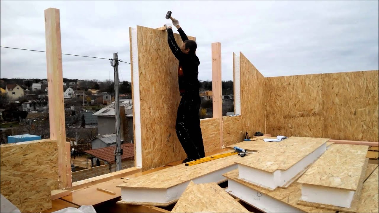 Возведение стен каркасно-щитового дома