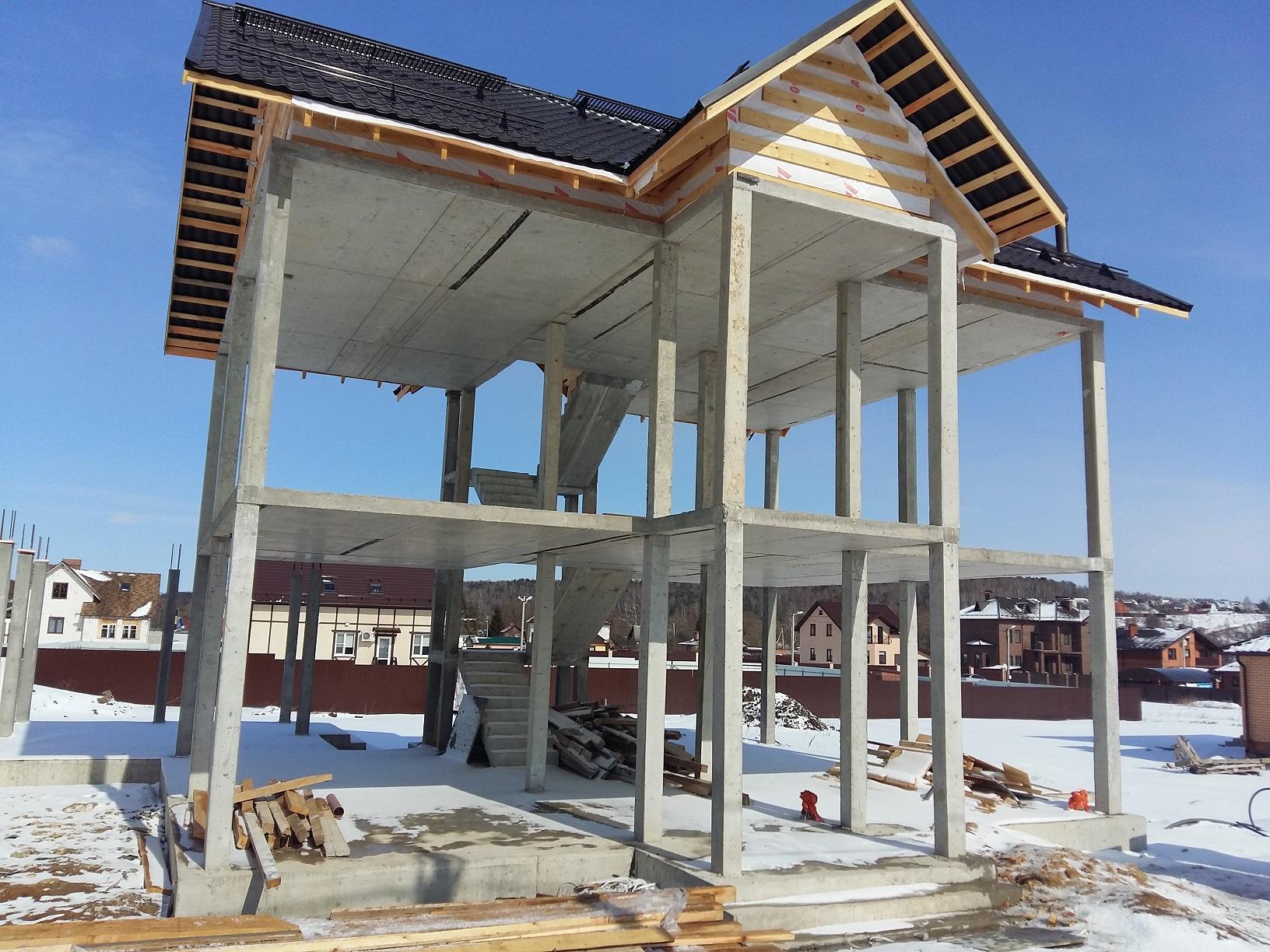 Строительство дома по монолитно-каркасной технологии