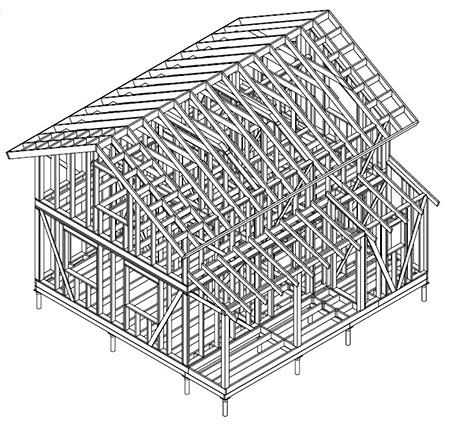 Чертеж каркасного дома