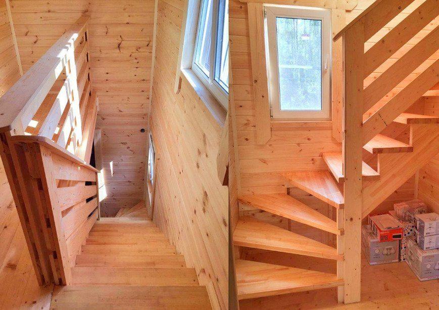 Деревянная лестница в каркаснике