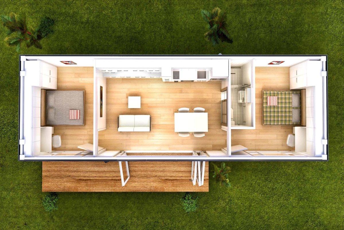 Планировка модульного дома из одного блока