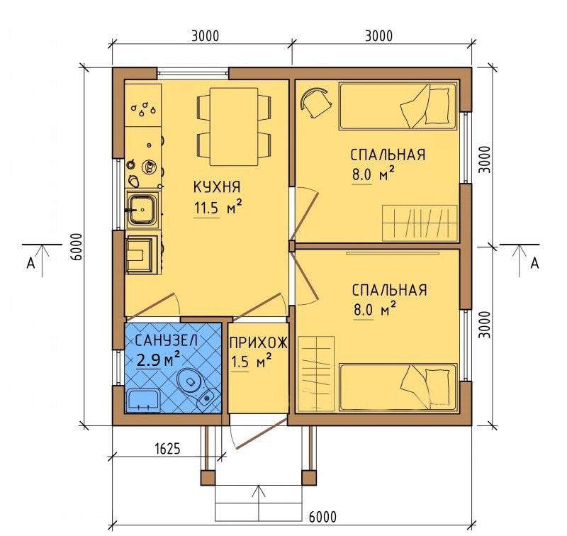 Проект дома 6 на 6 с одним этажом
