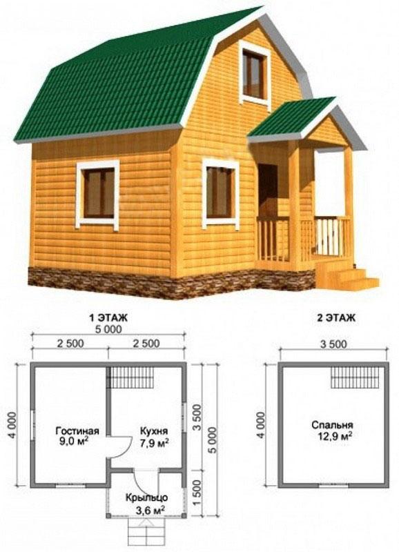 Двухэтажный дом 5x5