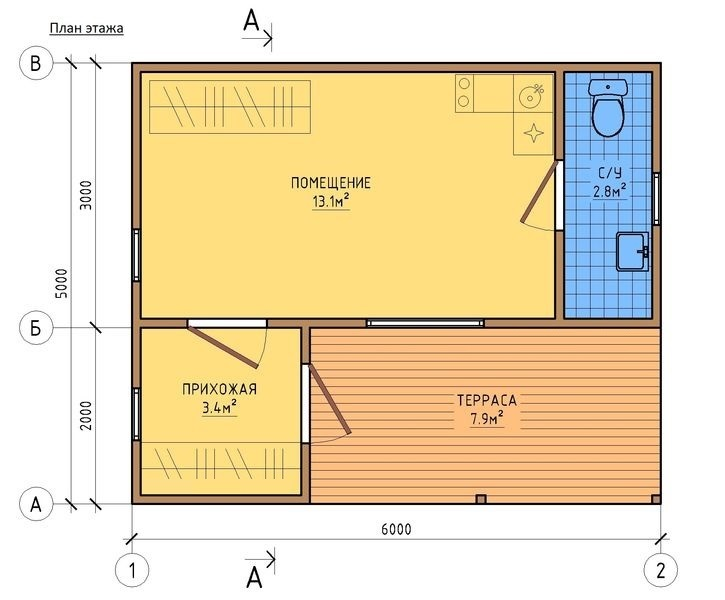 Вариант планировки дома 5 на 6