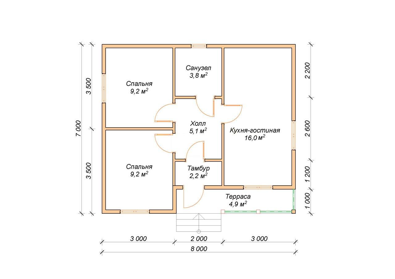Одноэтажный дом 7 на 8