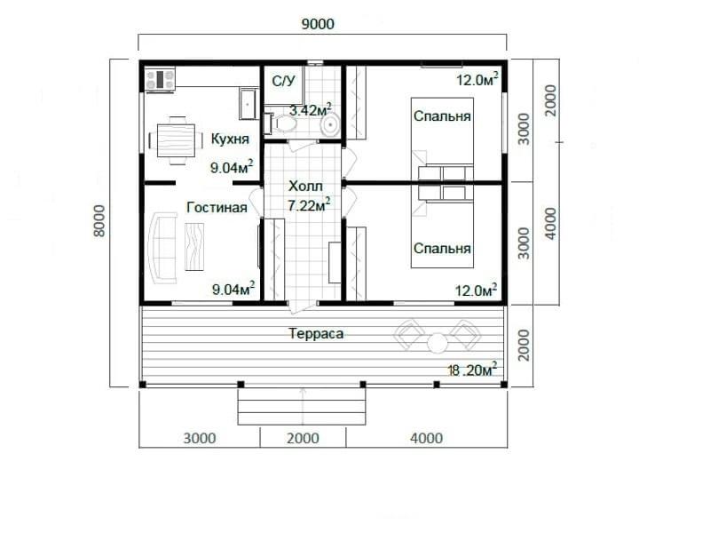 Планировка дома 8 на 9