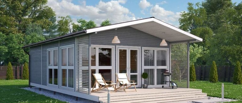 Одноэтажный небольшой дом с террасой
